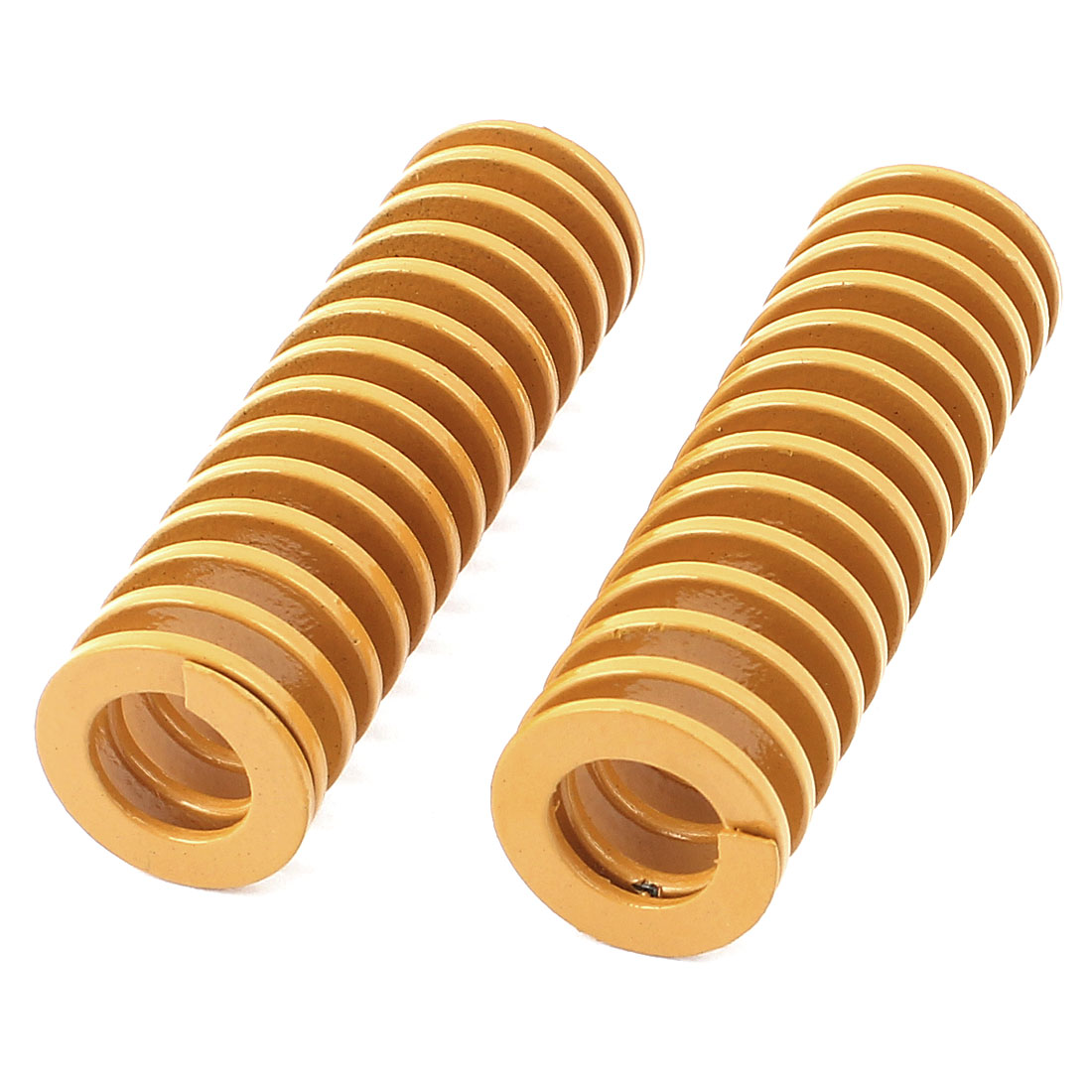 20mm x 65mm Mechanical Metal Spiral Compression Coil Spring Yellow 2 Pcs