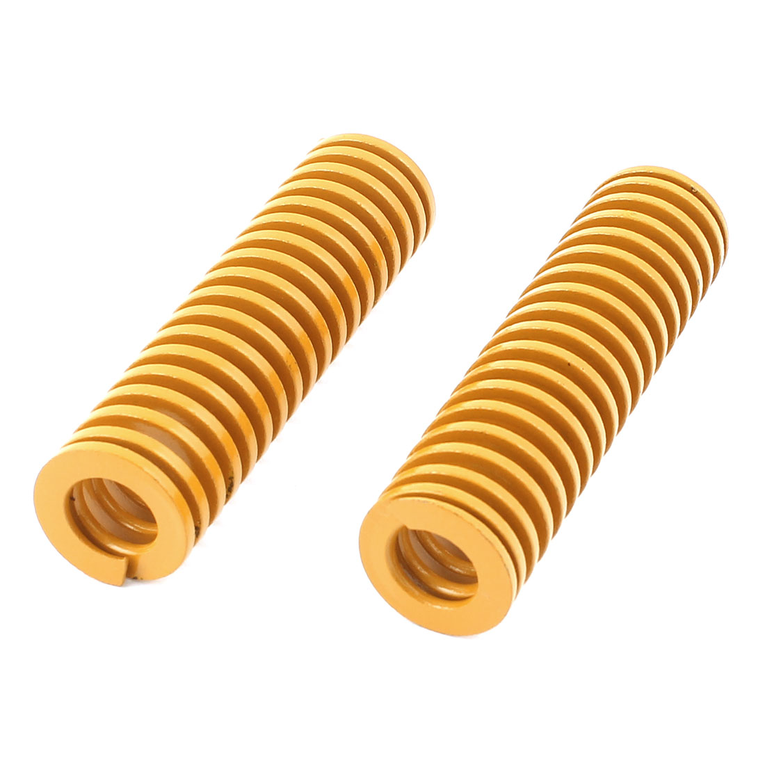 22mm x 80mm Mechanical Metal Spiral Compression Coil Spring Yellow 2 Pcs