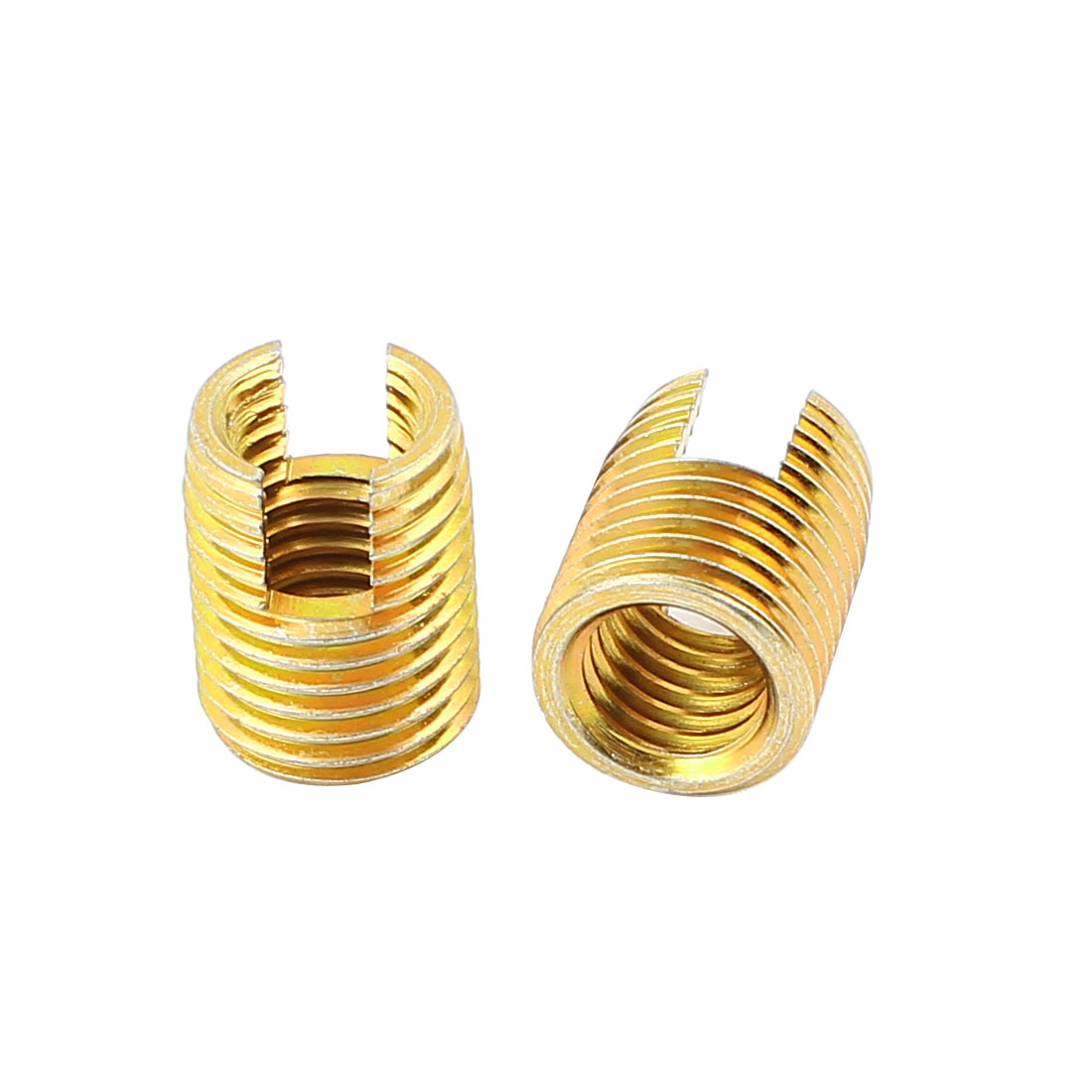 18mm x 14mm Mechanical Self Tapping Threaded Inserts Brass Tone 2 Pcs