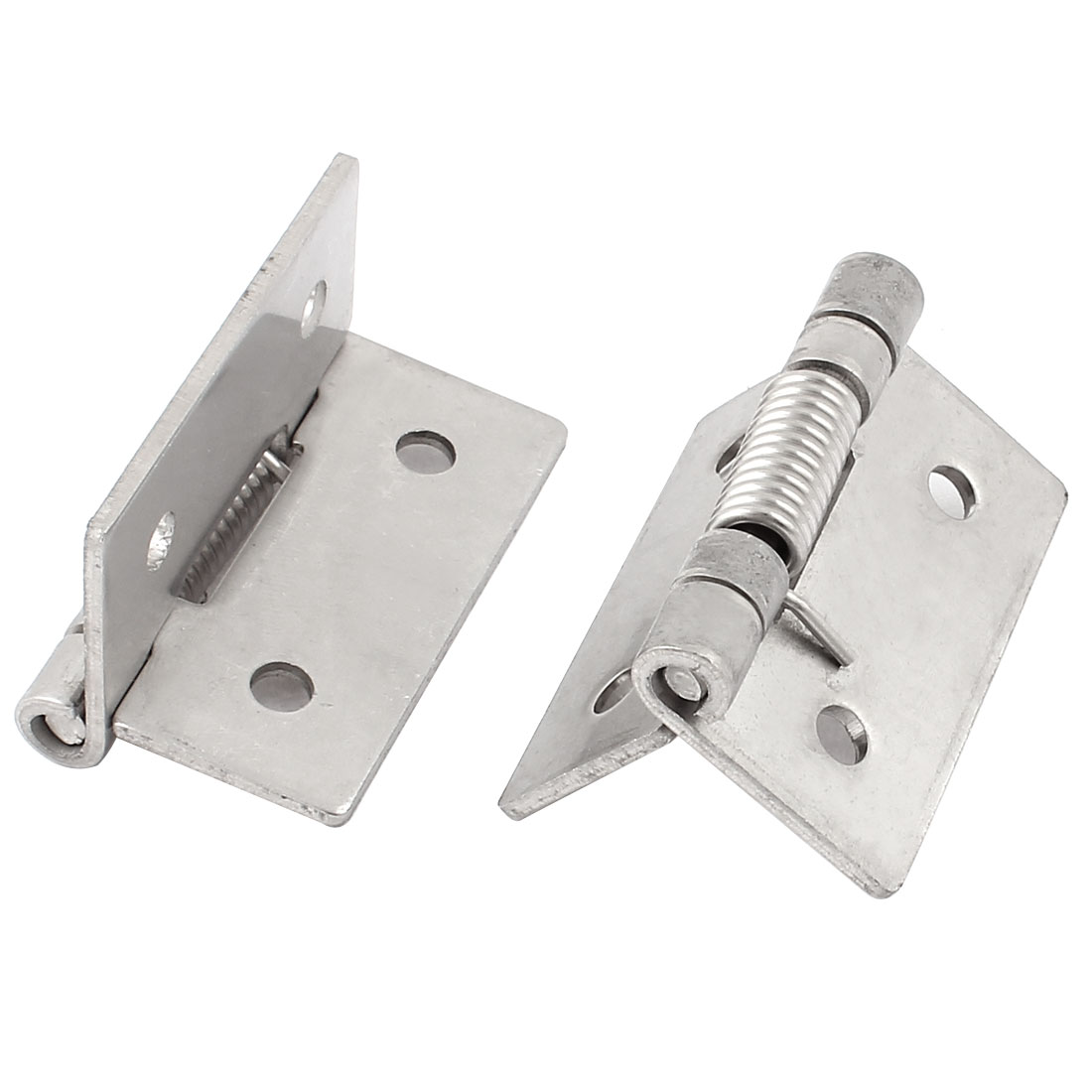 51mmx34mm Metal Strengthen Spring Loaded Hinges for Door Silver Tone 2Pcs