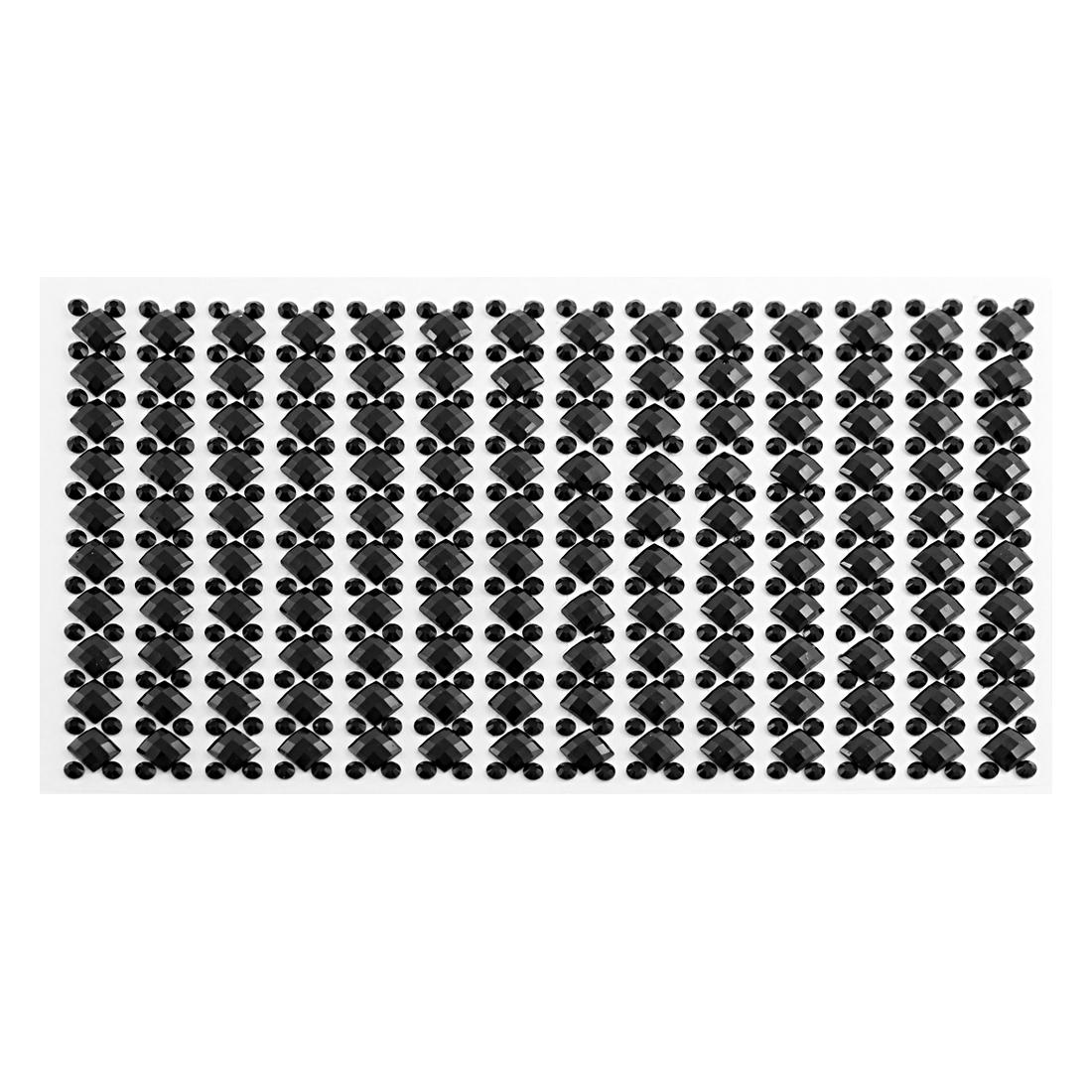 Round Square Black Faux Crystal Rhinestone Acrylic Sticker Car Decals