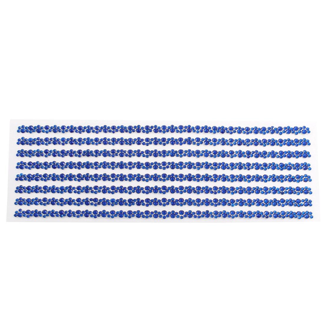 Blue Self Adhesive Crystal Rhinestone Car Decorating DIY Stickers 255mm x 90mm