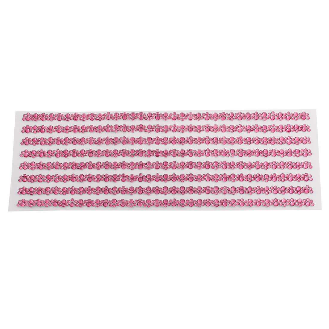 Fuchsia Self Adhesive Crystal Rhinestone Car Decorating DIY Stickers 255mm x 90mm