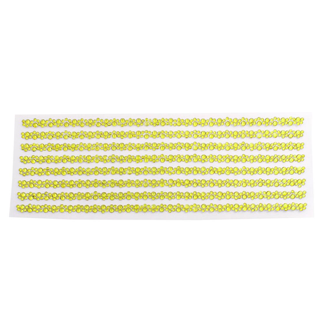 Gold Tone Self Adhesive Crystal Rhinestone Car Decorating DIY Stickers 255mm x 90mm