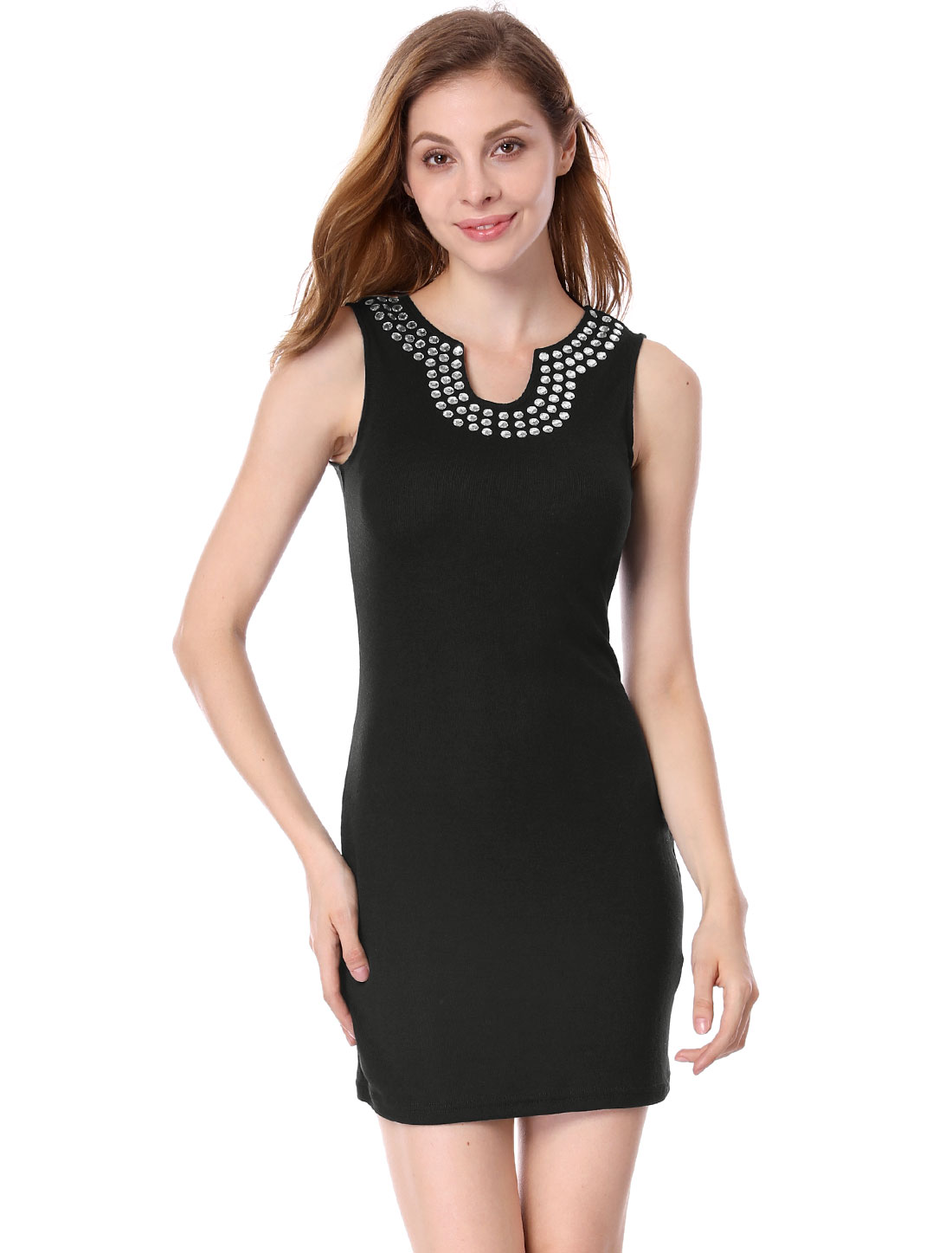 Women Split Neck Beads Unlined Slim Fit Dress Black L