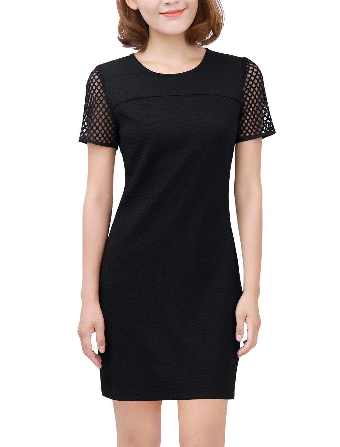 Woman Short Sleeve Panel Textured Casual Dress Black M