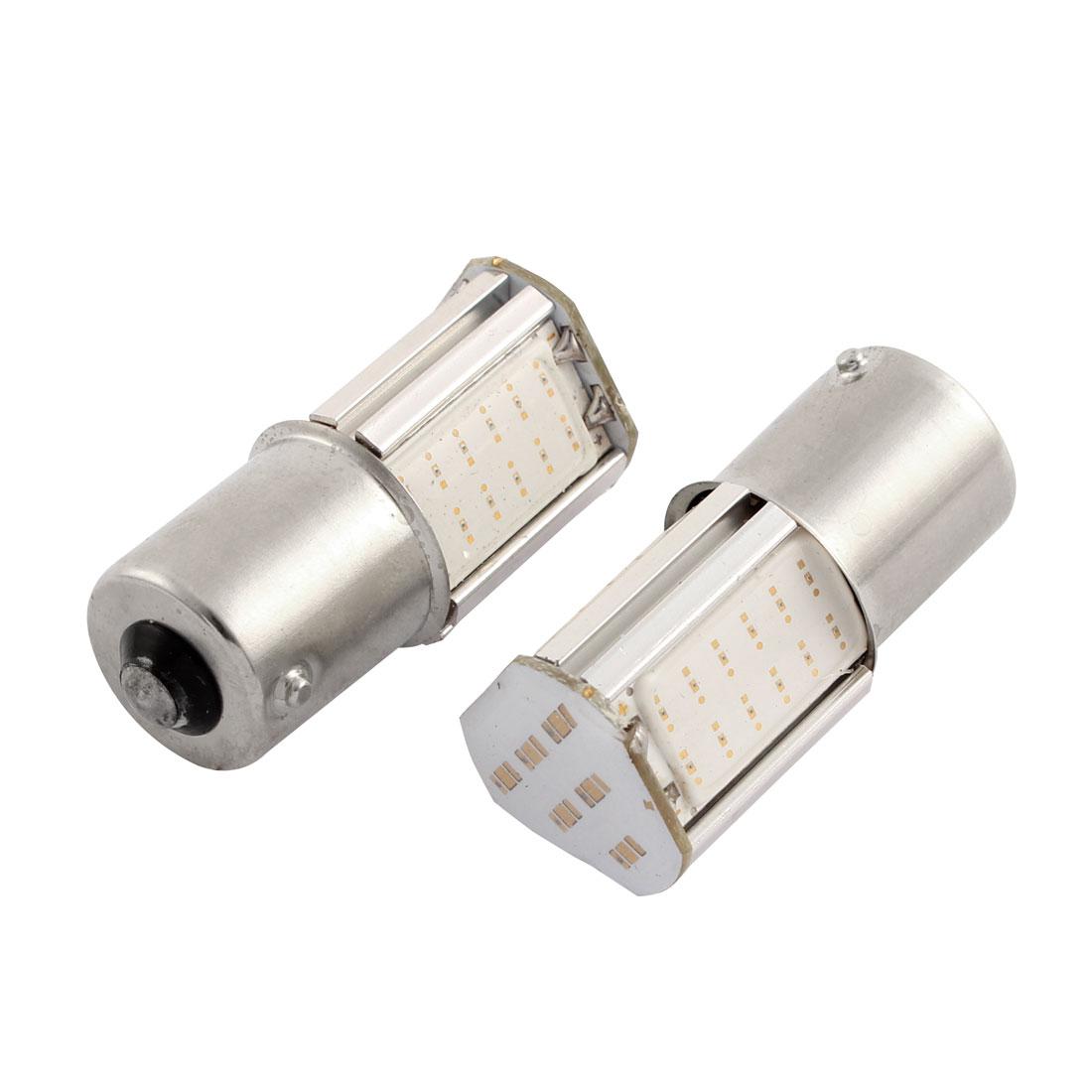 Pair 1156 BA15S 42 LED 4 COB Yellow Car Brake Reverse Turn Signal Light Bulb 12V