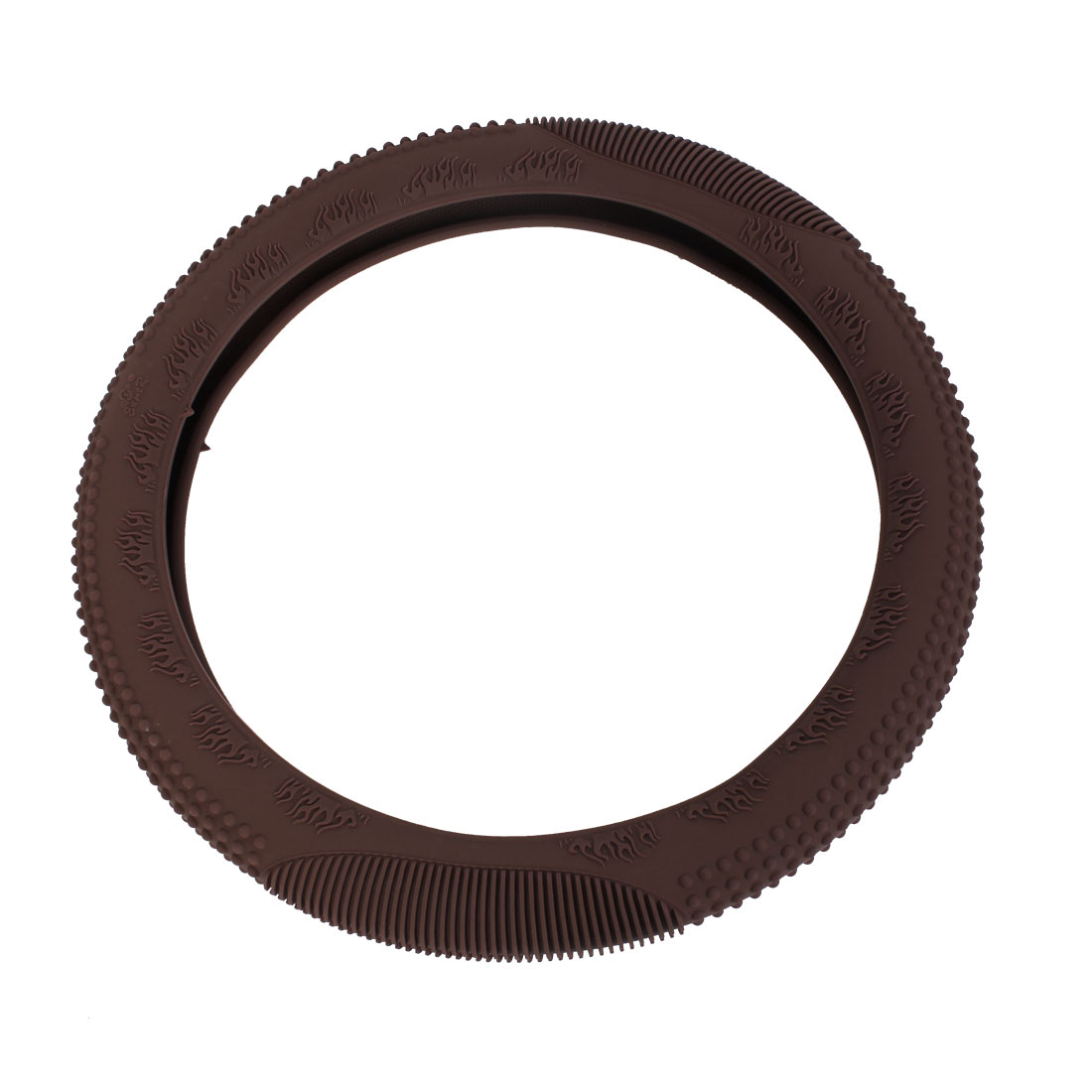 Brown Fire Pattern Skidproof Odorless Silicone Steering Wheel Cover for Car