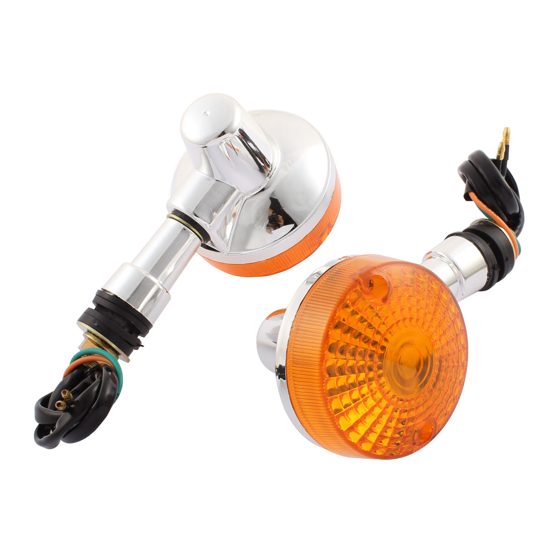 "Pair 3"" Dia Round Shaped Yellow Motorcycle Turn Signal Light Halogen Lamp DC 12V for GN"