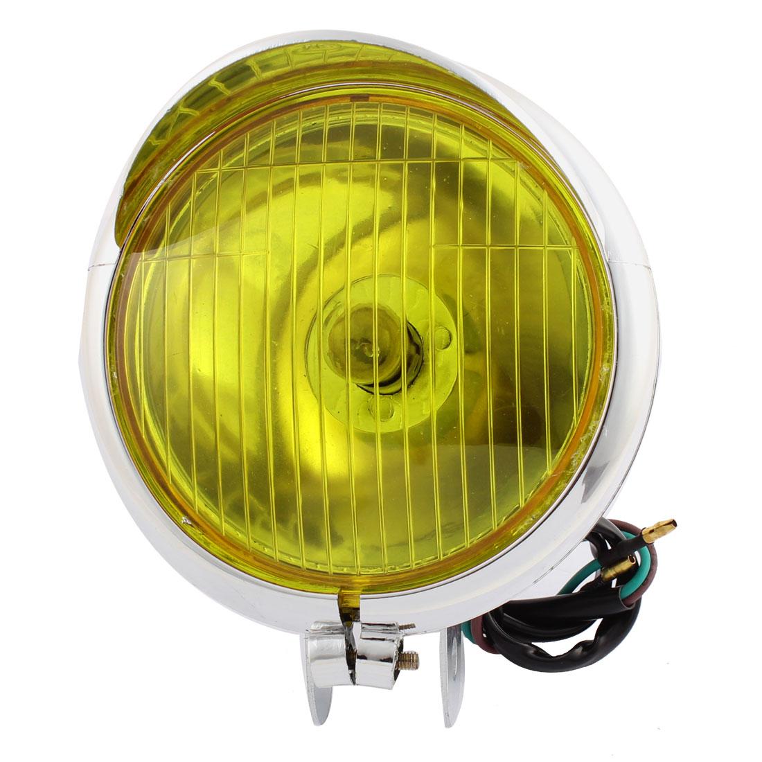 Chrome Plastic Motorcycle Headlight Yellow Headlamp Light Bulb Bucket for GN