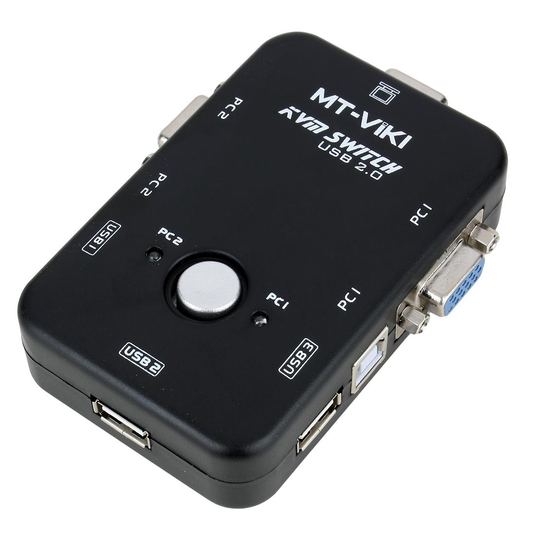 VGA/SVGA KVM Switch Box 2 Port USB 2.0 Devices Share Mouse Keyboard Monitor