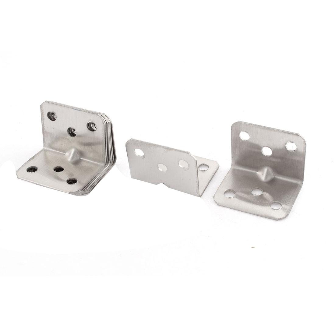 8 Pcs Furniture Cupboard Fittings Silver Tone Angle Repair Bracket Corner Braces