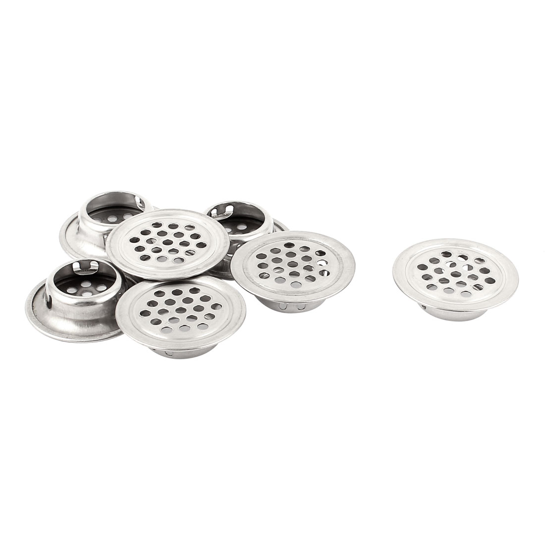 7 Pcs Stainless Steel Flat Round Shaped Mesh Hole Cabinet Air Vent Louver 19mm