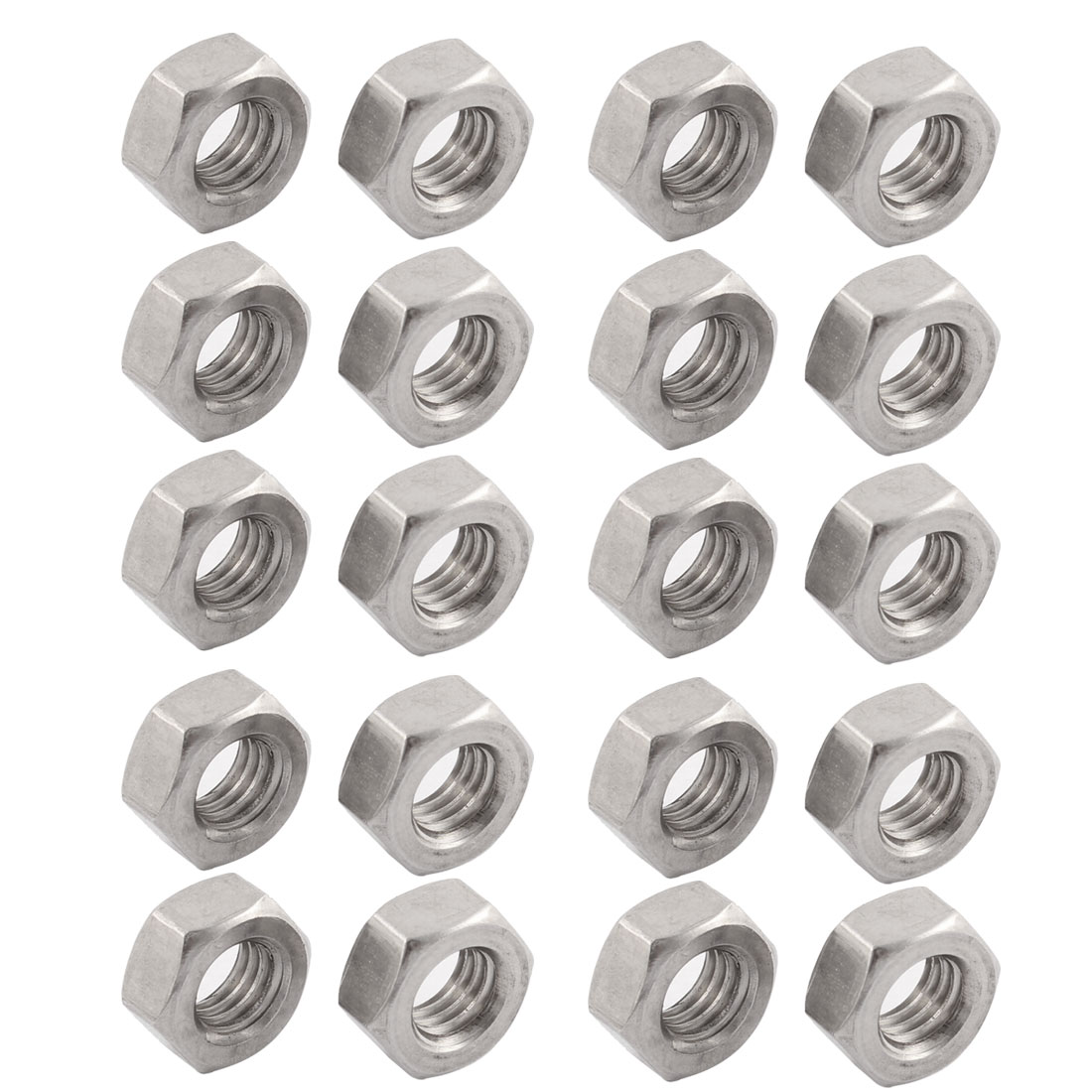 Metric M8x1.25mm Stainless Steel Finished Hexagon Hex Nut Silver Tone 20pcs