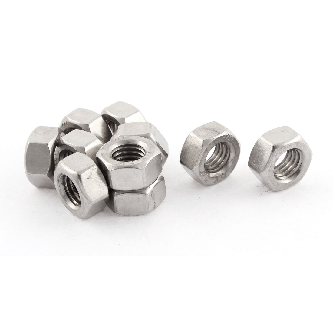 Metric M10x1.5mm Stainless Steel Finished Hexagon Hex Nut Silver Tone 10pcs