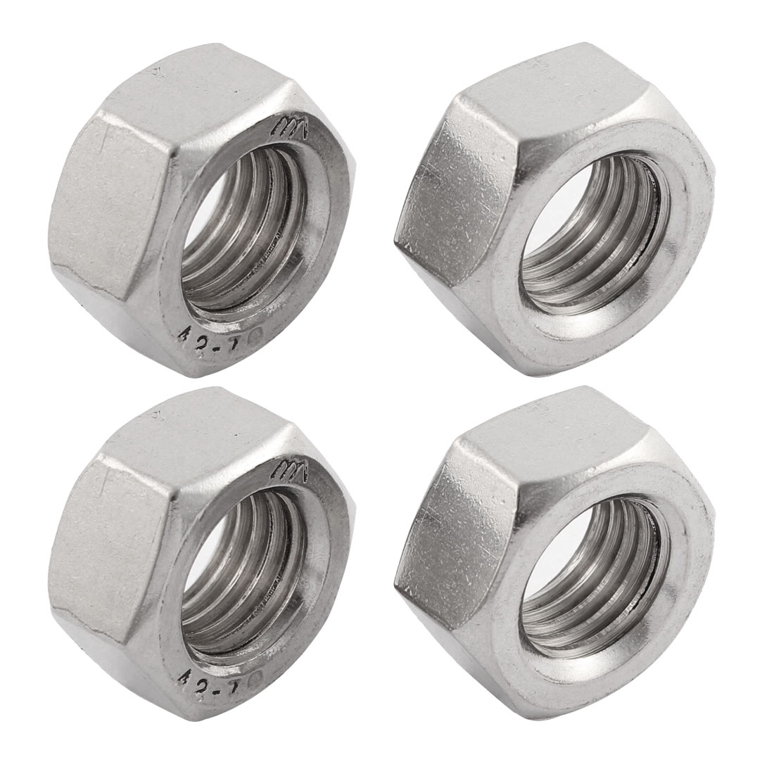 Metric M16x2mm Stainless Steel Finished Hexagon Hex Nut Silver Tone 4pcs