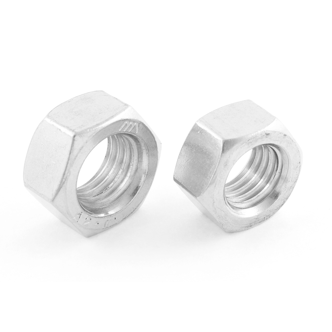Metric M18x2.5mm Stainless Steel Finished Hexagon Hex Nut Silver Tone 2pcs