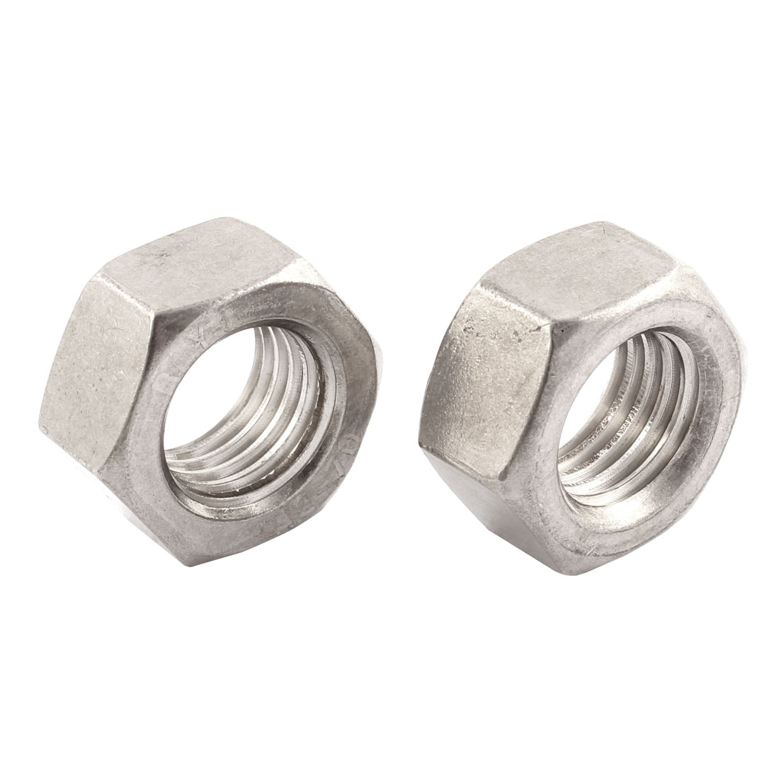 Metric M20x2.5mm Stainless Steel Finished Hexgon Hex Nut Silver Tone 2pcs