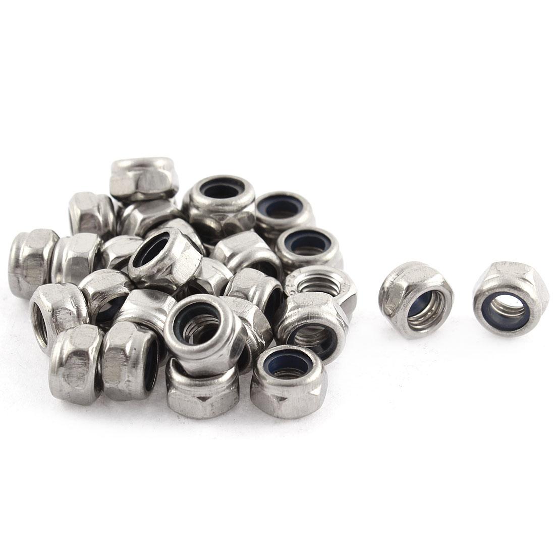30 Pcs M5x0.8mm Metric Stainless Steel Nylon Insert Lock Hex Nuts