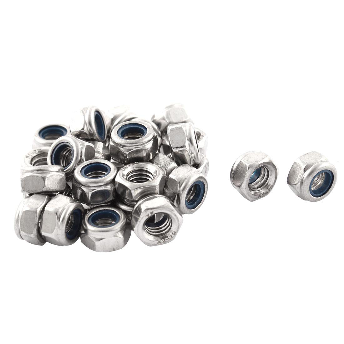 30 Pcs M6x1mm Metric Stainless Steel Anti-loose Nylon Insert Lock Hex Nuts