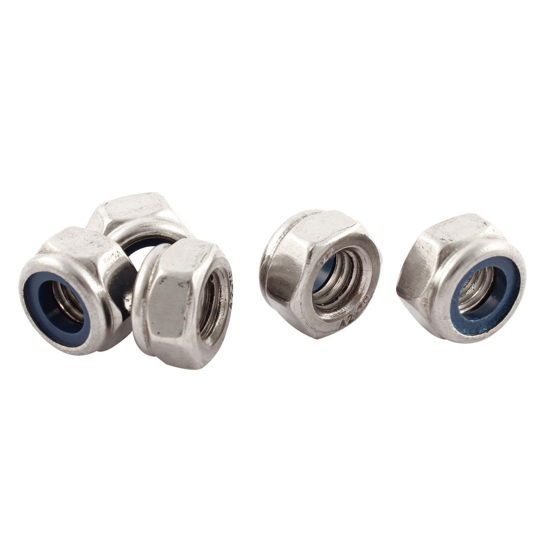 5pcs M10x1.5mm Metric Stainless Steel Anti-loose Nylon Insert Lock Hex Nuts