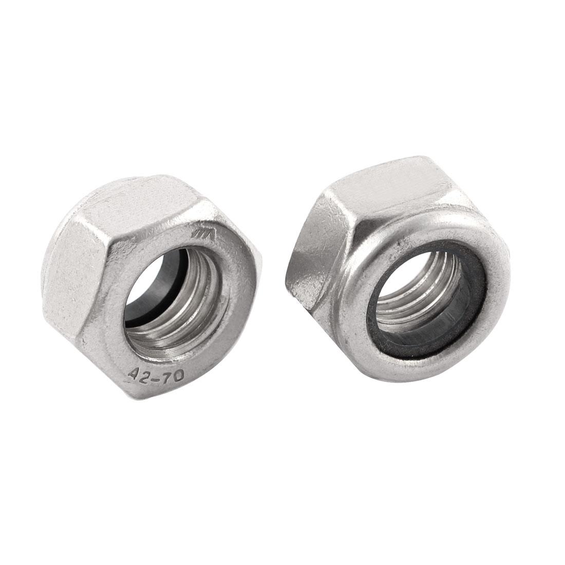 2 Pcs M14x2mm Stainless Steel Nylon Insert Lock Anti-loose Hex Nuts
