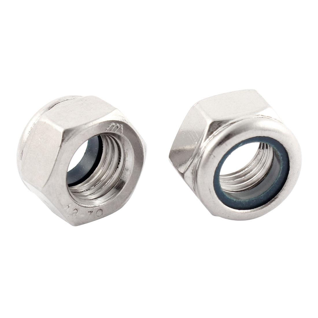 2pcs M16x2mm Stainless Steel Nylon Insert Lock Anti-loose Hex Nuts