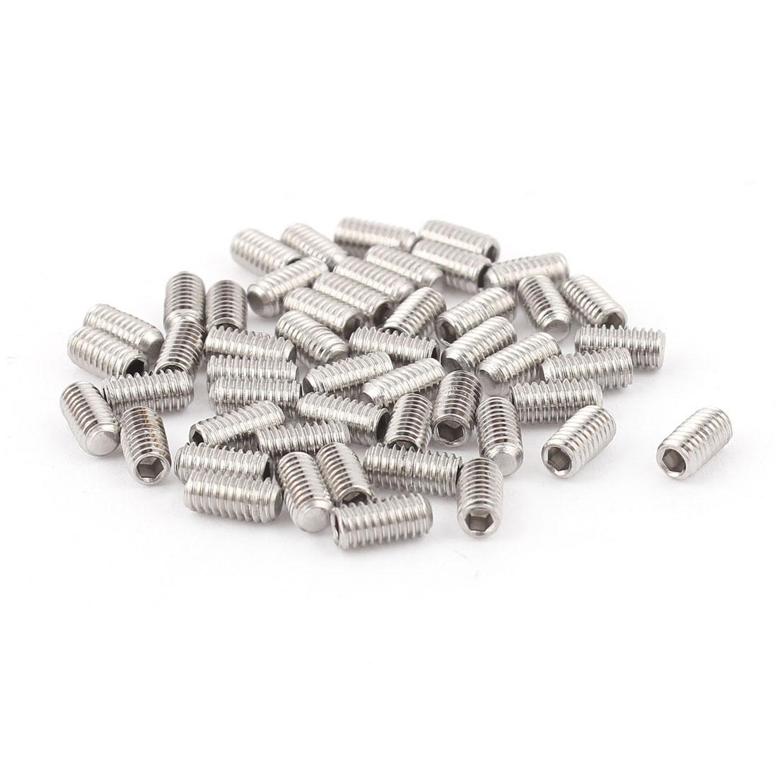 4mm x 8mm Stainless Steel Hexagon Socket Head Set Cup Point Grub Screws 50pcs