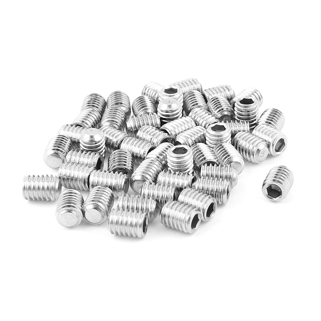 6mm x 8mm Stainless Steel Hexagon Socket Head Set Cup Point Grub Screws 50pcs