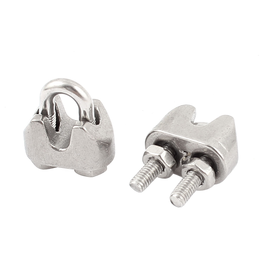 """1/16"""" 304 Stainless Steel Single Saddle Commercial Wire Rope Clip Cable Clamp 2pcs"""
