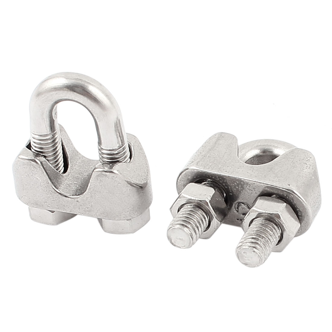 "3/16"" Stainless Steel Single Saddle Commercial Wire Rope Clip Cable Clamp 2pcs"