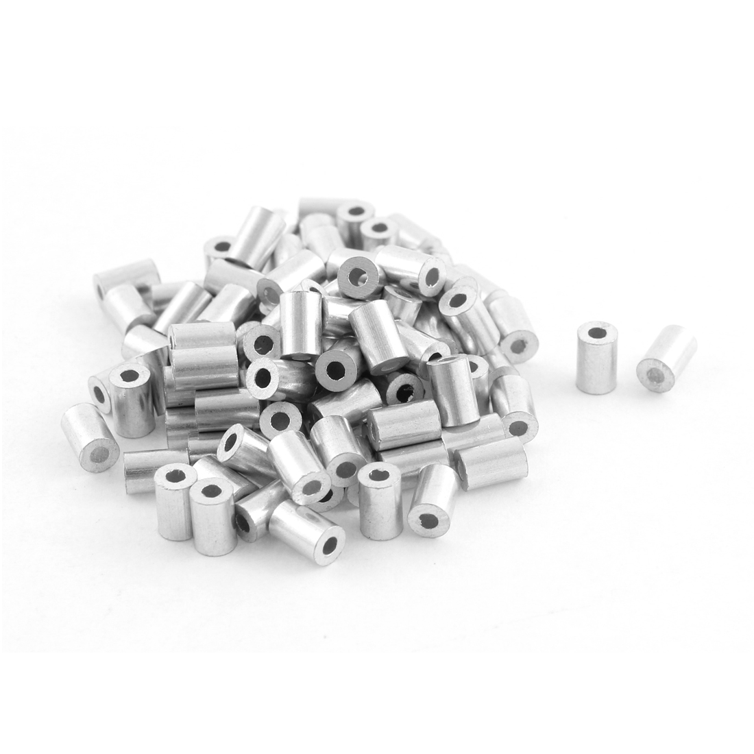 100pcs Aluminum Cable Stops Sleeves for 1mm Wire Rope Swage Clip