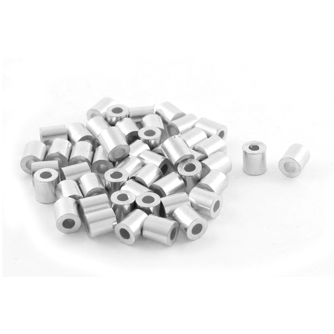 50pcs Aluminum Cable Stops Sleeves for 2mm Wire Rope Swage Clip