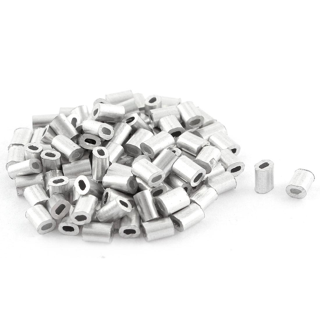 100pcs Oval Aluminum Sleeves Clamps for 0.5mm Wire Rope Swage Clip