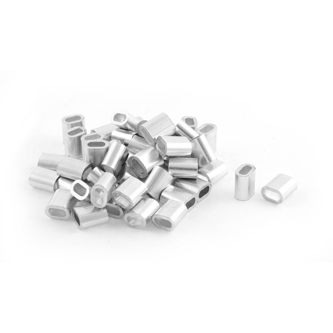 50pcs Oval Aluminum Sleeves Clamps for 2mm Wire Rope Swage Clip