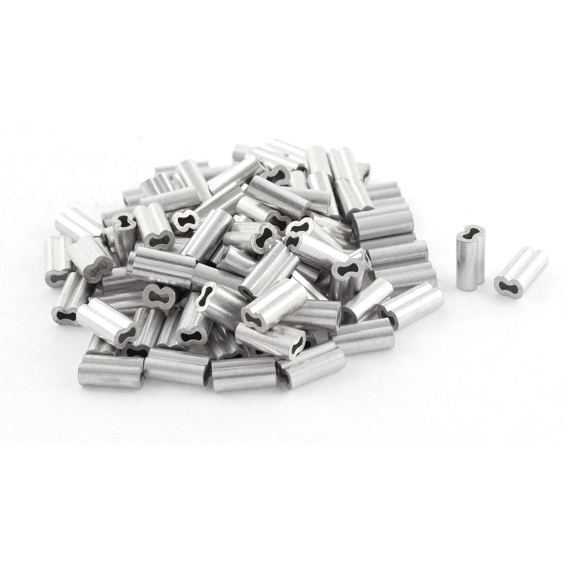 100pcs Silver Tone Aluminum Sleeve for 1.2mm Steel Wire Rope Swage Clip