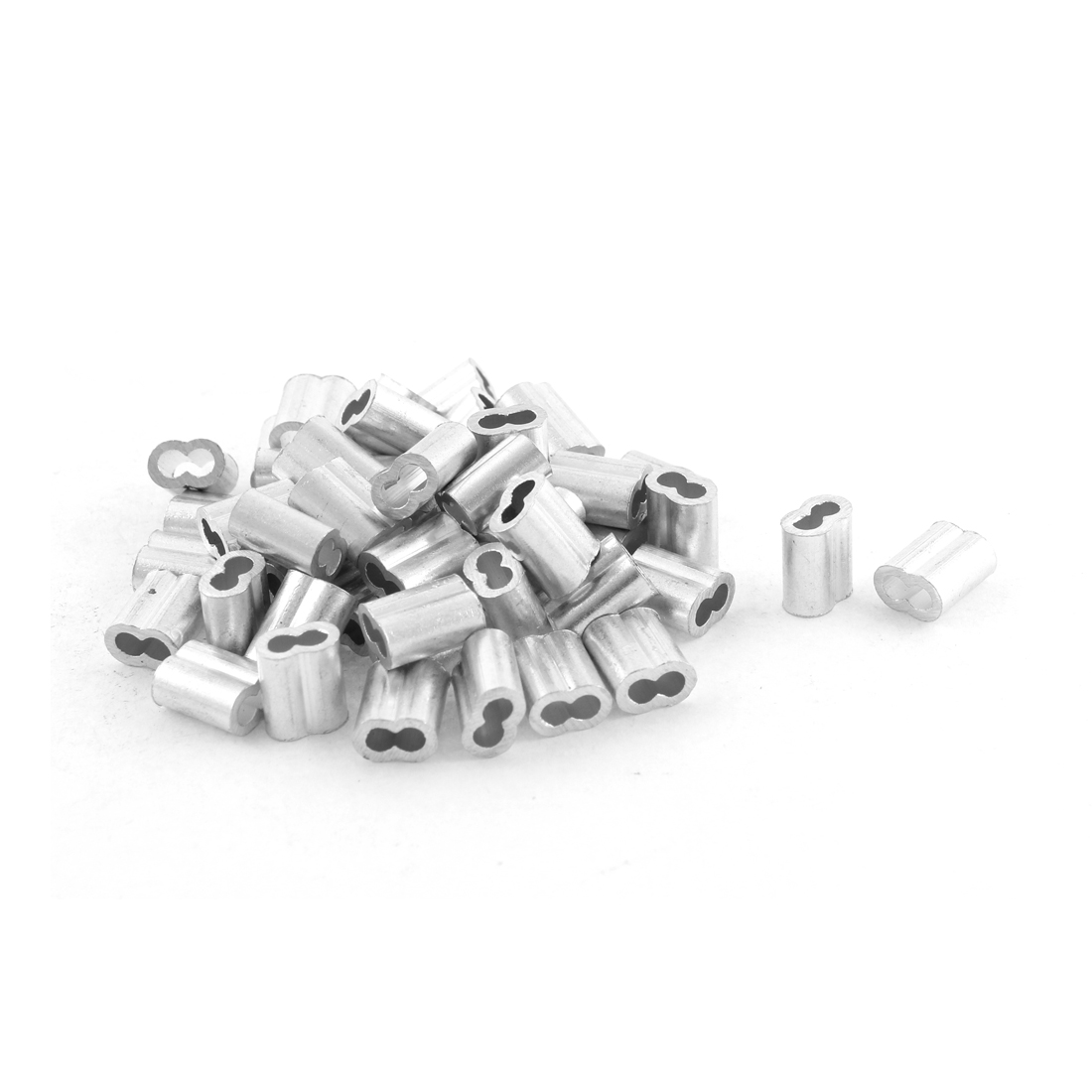 50pcs Silver Tone Aluminum Sleeve for 2mm Steel Wire Rope Swage Clip