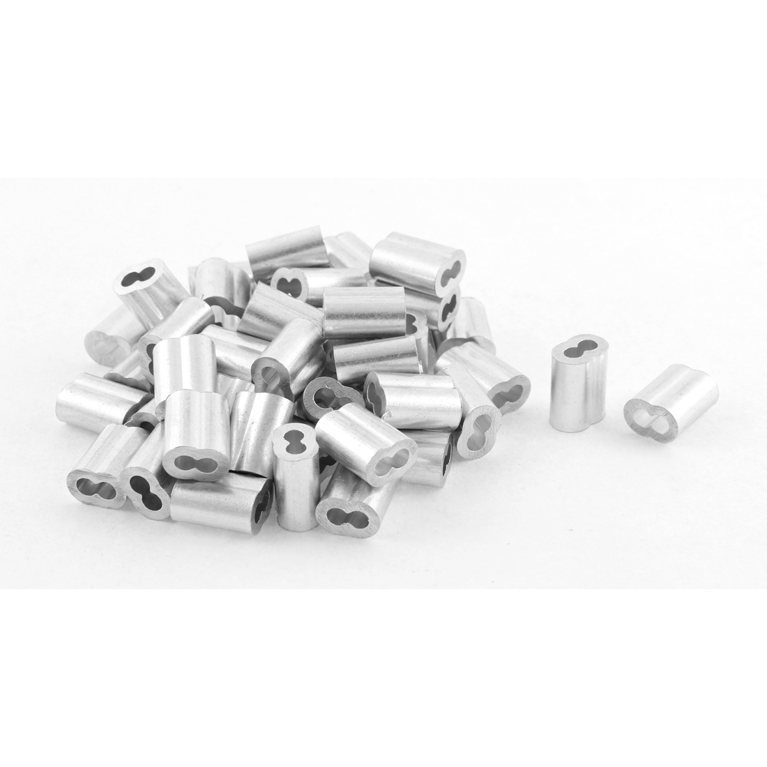 50pcs Silver Tone Aluminum Sleeve for 2.5mm Steel Wire Rope Swage Clip