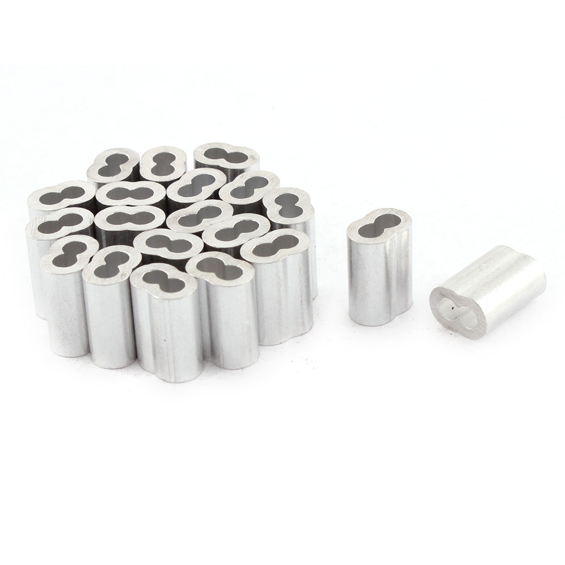 "20pcs Silver Tone Aluminum Sleeve for 1/8"" Steel Wire Rope Swage Clip"