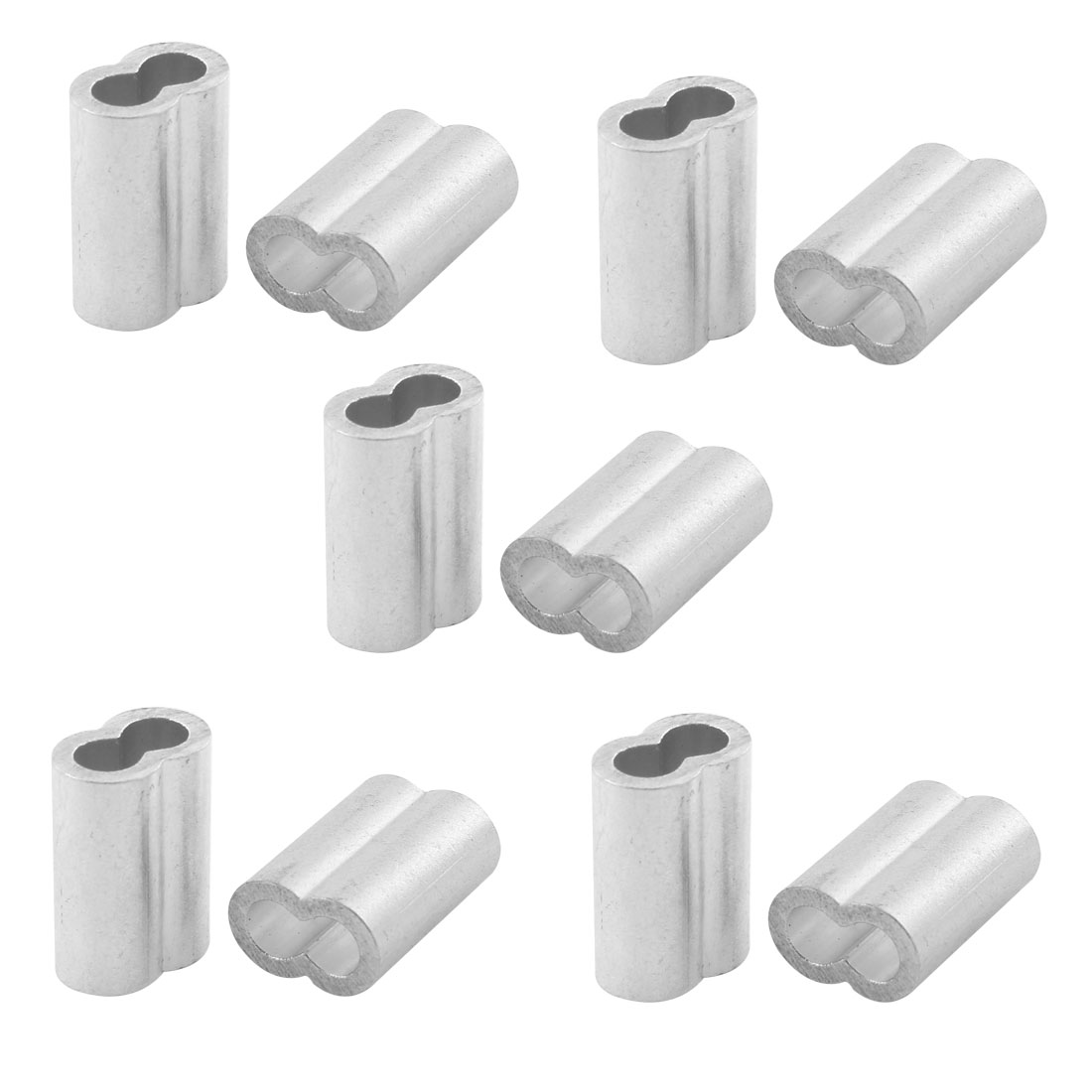 """10pcs Silver Tone Aluminum Sleeve for 1/4"""" Steel Wire Rope Swage Clip"""
