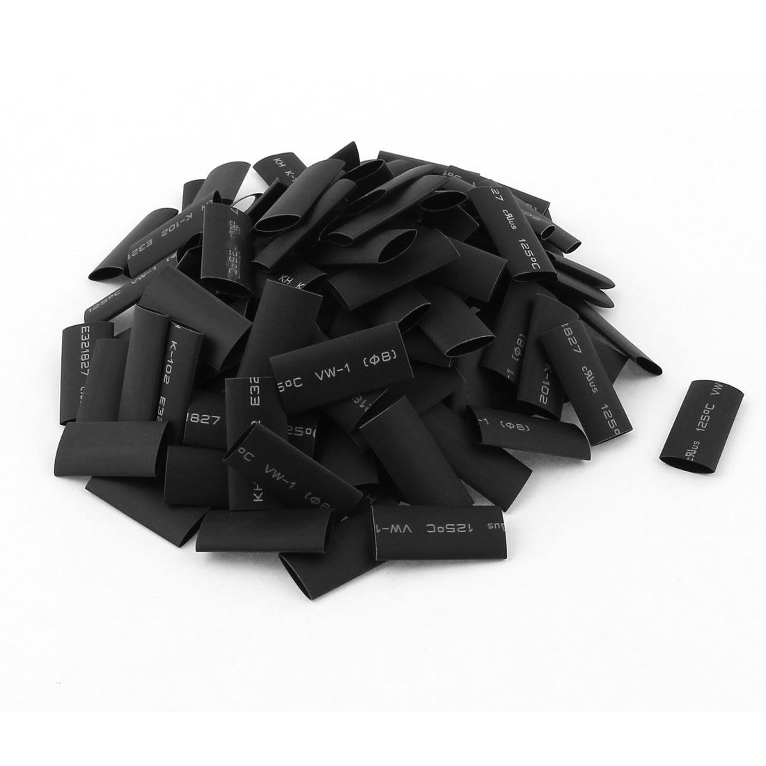 Black 8mm Dia 2:1 Polyolefin Heat Shrink Tubing Shrinkable Tube 30mm 150pcs