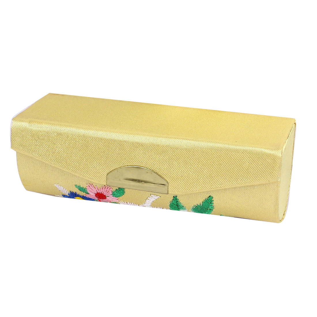 Chinese Style Floral Embroidered Yellow Lipstick Lip Chap Stick Case Holder Box w Rectangle Mirror