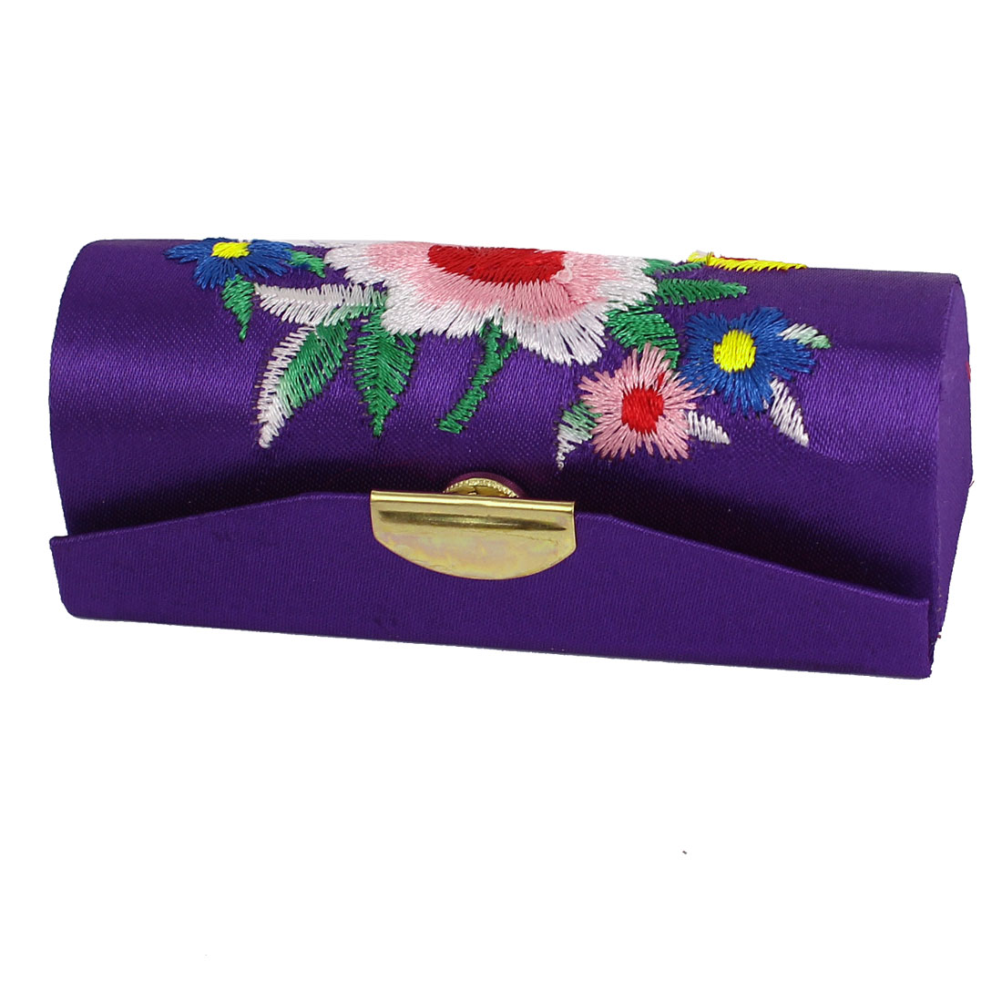 Women Floral Embroidered Purple Lipstick Lip Chap Stick Case Holder Box w Mirror