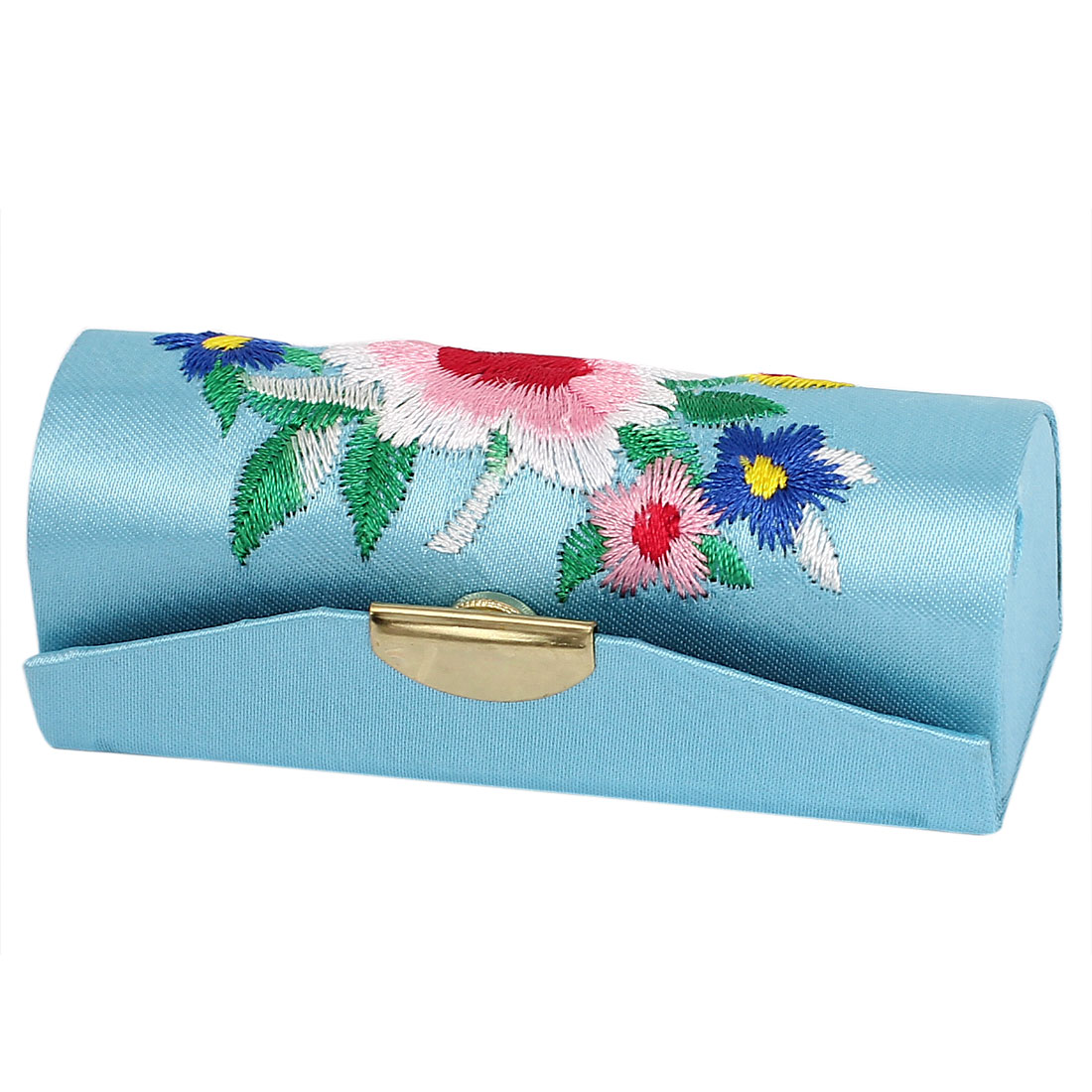 Lady Floral Prints Sky Blue Lipstick Lip Chap Stick Case Jewelry Holder Box w Mirror