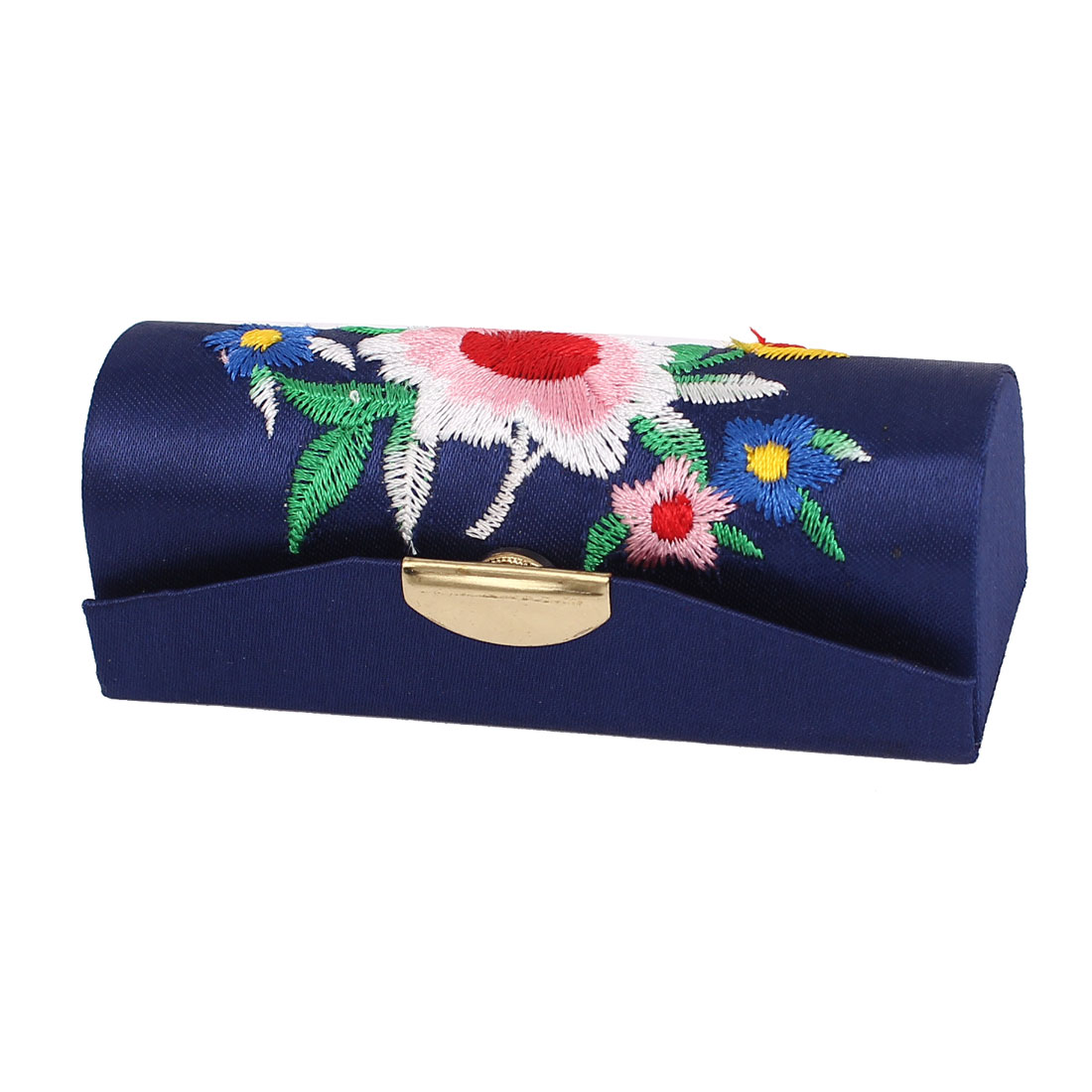 Cinese Style Floral Design Blue Lipstick Lip Chap Stick Case Jewelry Holder Box w Mirror