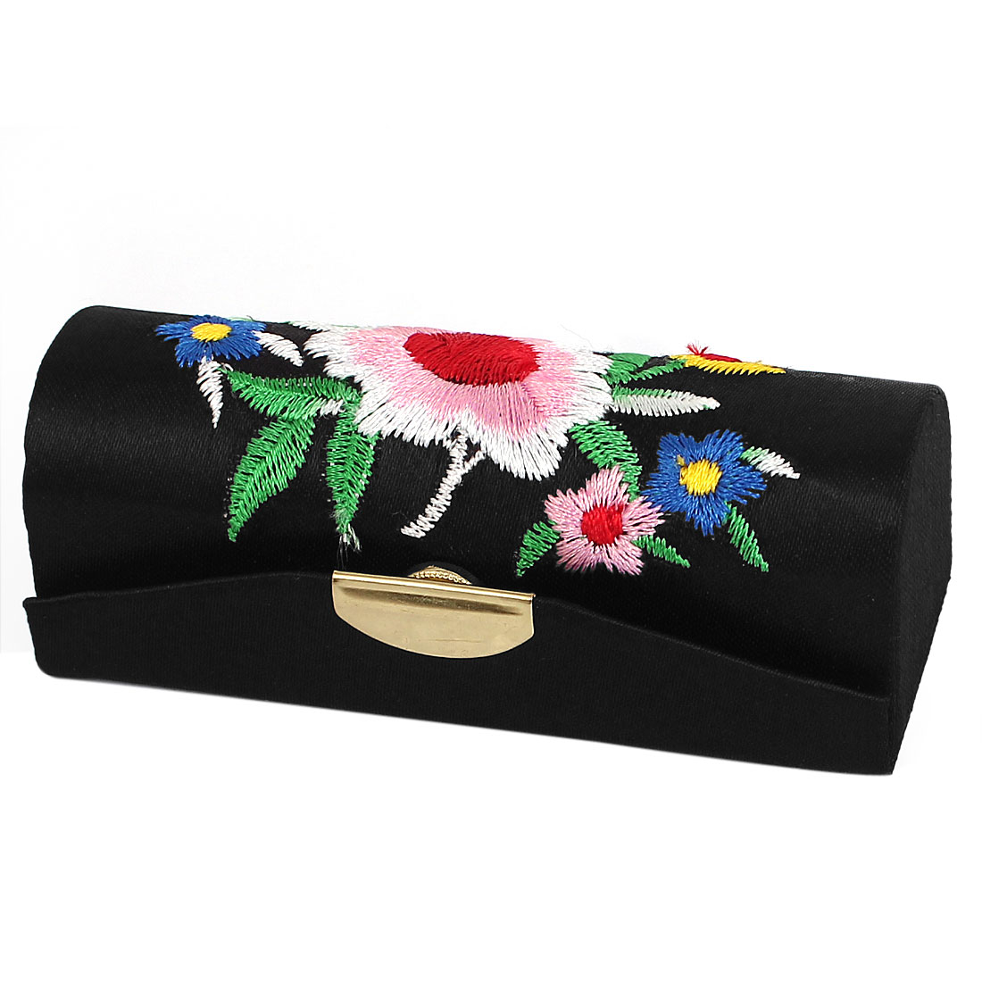 Lady Floral Embroidery Black Lipstick Lip Chap Stick Case Box Cosmetics Makeup Compact w Mirror