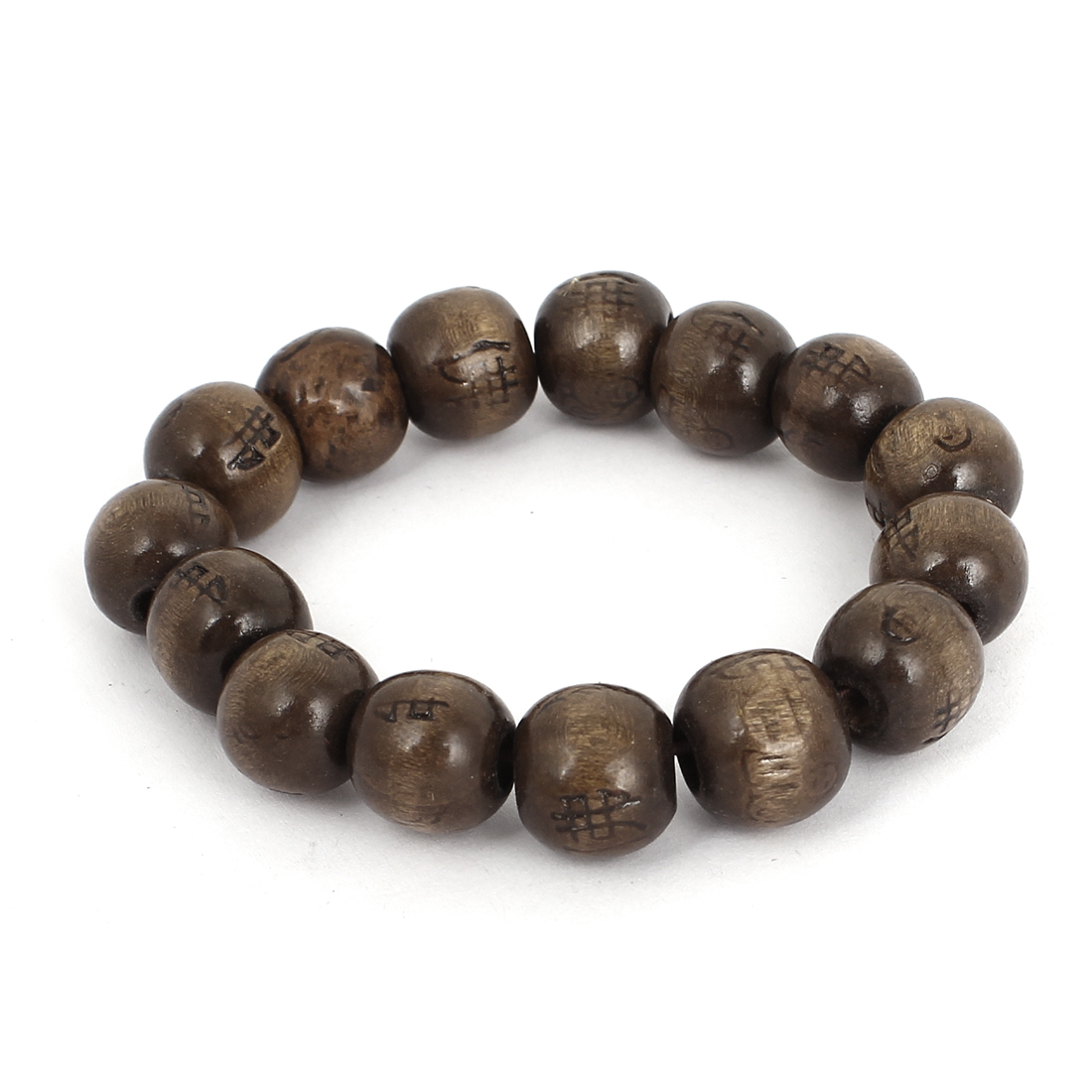 18cm Girth Brown Wood Chinese Character Print Round Beads Elastic Buddha Bracelet Bangle Stretch Band