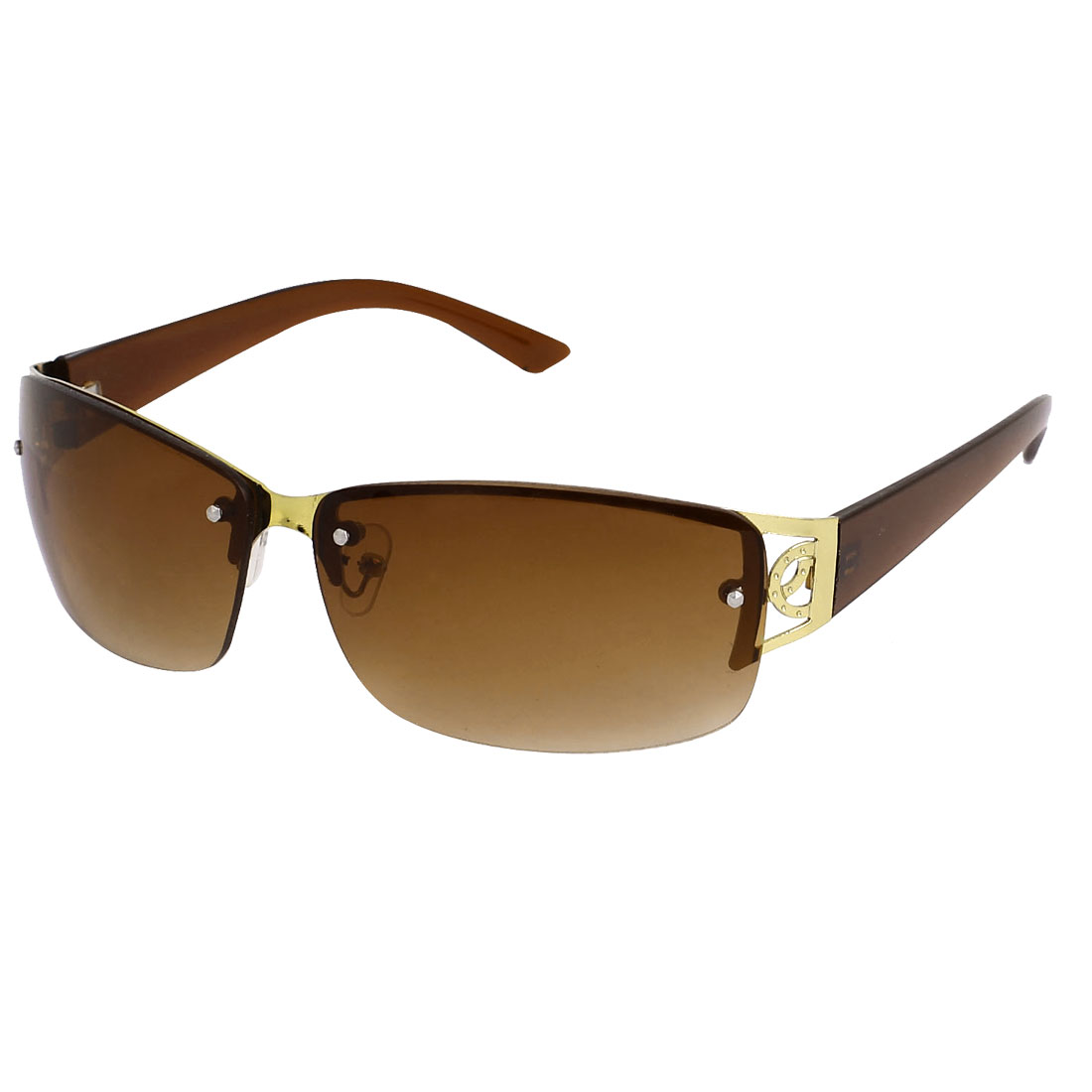 Men Rectangle Frame Half Rimless Single Bridge Sunglasses Glasses Eyewear Eyes Protecter Brown