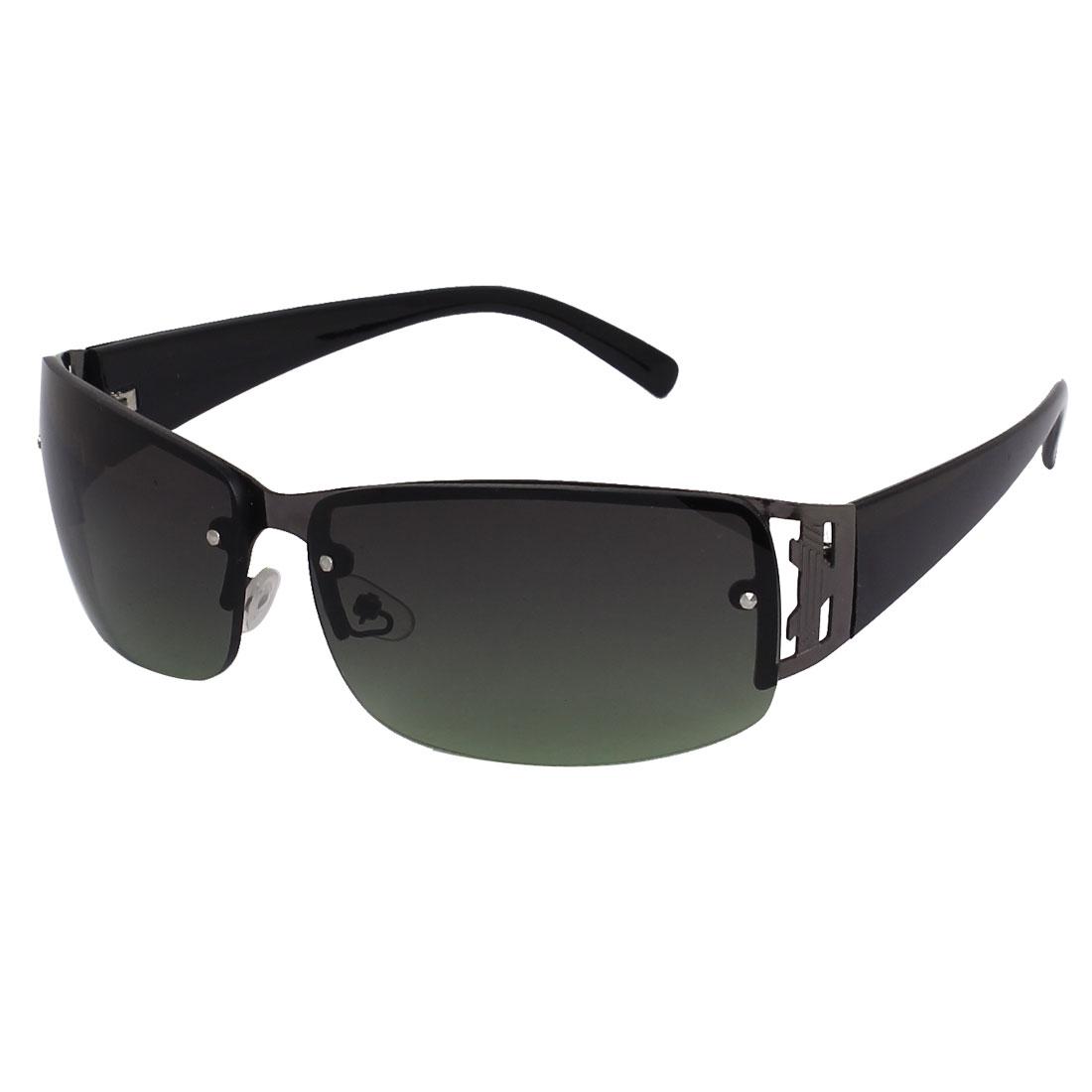 Men Rectangle Frame Single Nose Bridge Sunglasses Glasses Eyewear Eyes Protection Green