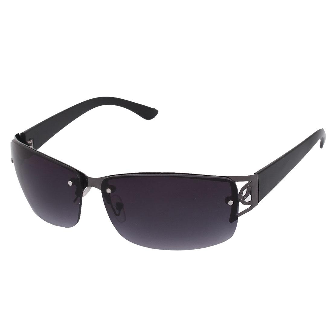Men Rectangle Frame Half Rimless Single Bridge Sunglasses Glasses Eyewear Eyes Protecter Black